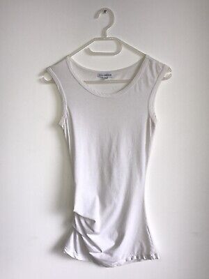 JAMES PERSE Ruched Side Tank Top In White Size 1 Small