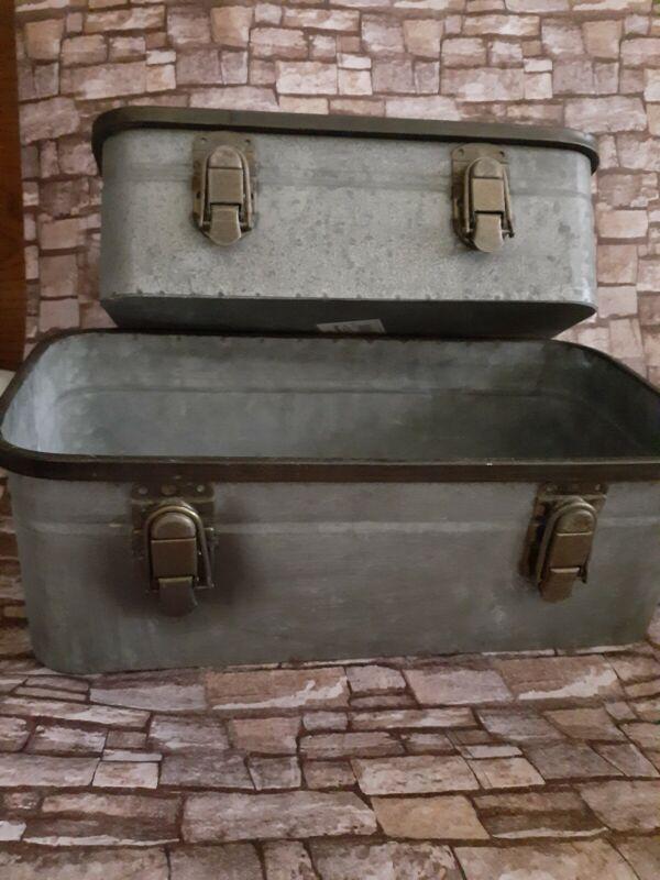 Vintage Galvanized Metal Drawer Box LARGE Chic Suitcase