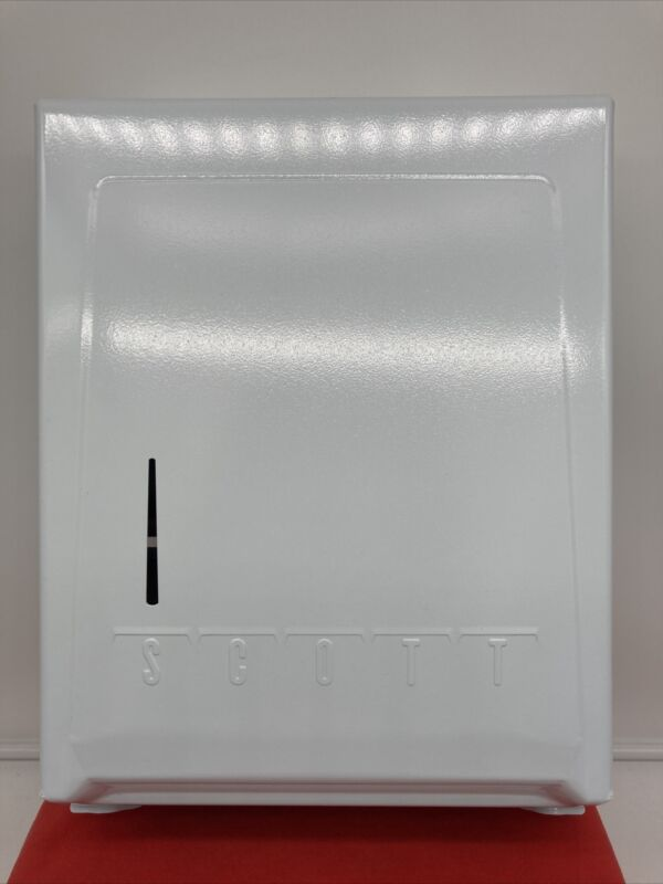 VINTAGE WHITE ENAMEL SCOTT 995 C-FOLD & MULTIFOLD PAPER TOWEL CABINET DISPENSER