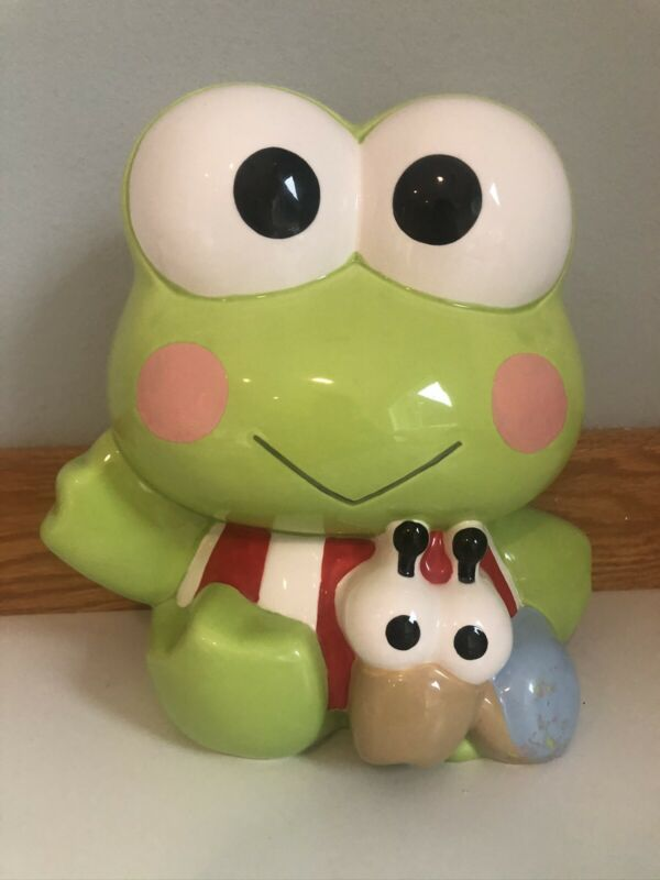 "Vintage Ceramic Sanrio Large Keroppi Piggy Bank * HTF * About 9.5"" High"