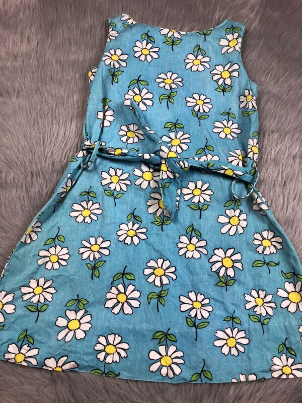 Vintage Blue Sleeveless Belted Daisy Floral Womens Mini Dress