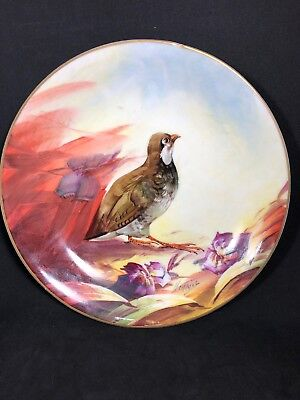 LRL Limoges Hand Painted Signed Henrioy Game Bird Bowl Wall Hanger C. 1920s (8)