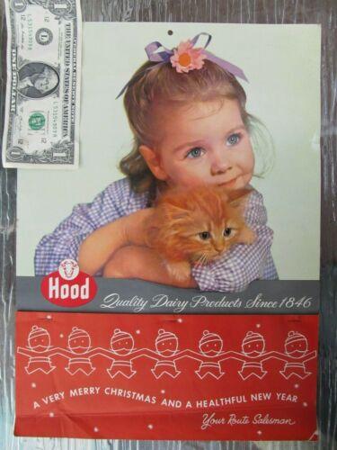 SUPER, Unused Lg. Vintage 1957 HOOD MILK Advertising Calendar, Kitten, Cat, Baby