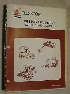 1998 Agco Hesston Hay Equipment Service Bulletin Information Repair Manual