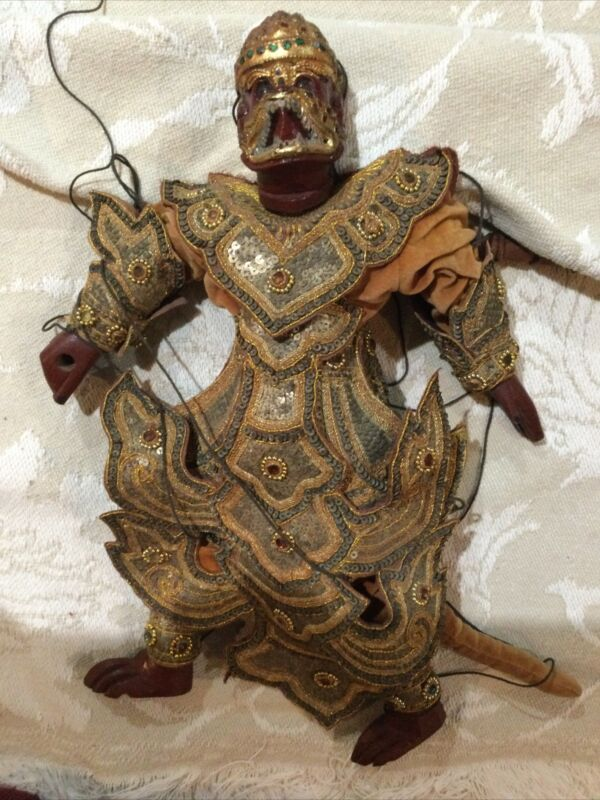 """Hanuman Antique Wooden/sequins Puppet Marionette 20"""""""