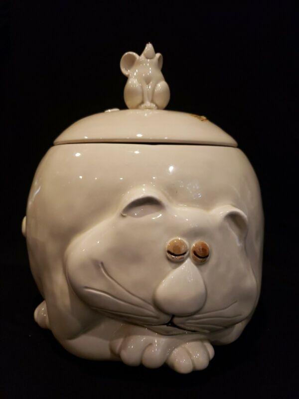 RARE Fitz & Floyd 'Fat Cat' Cookie Jar XL~VTG 1977 Retired~ NWT MINT Condition!