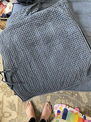 POTTERY BARN Pickstitch Linen Cotton QUILTED Mavy Blue 2 Euro Pillow Shams Tie