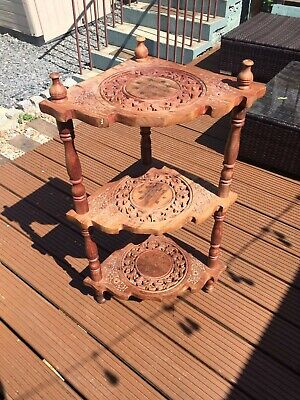 Beautiful Antique Vintage Plant Stand Corner Wooden 3 Tier