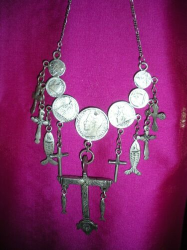 GUATEMALAN SILVER  COLORED CHACHAL (NECKLACE) W/  COINS, CROSSES & CHAIN