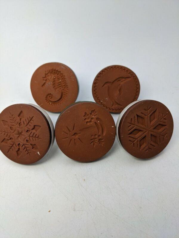 Vtg Rycraft Ceramic Terracotta  Cookie Press Lot Of 6 (3)Xmas, dolphin, seahorse