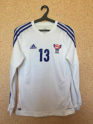 Faroe Islands NATIONAL TEAM 2012/2014 MATCH WORN FOOTBALL SHIRT JERSEY ADIDAS 13 image