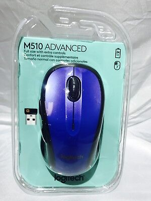 Logitech M510 Wireless Laser Mouse, Blue (910-002533) New