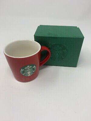 Starbucks 2016 Holiday Espresso Demitasse Red Cup With Mermaid Design and box