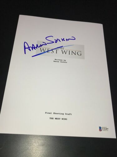 AARON SORKIN SIGNED AUTOGRAPH SCRIPT THE WEST WING TELEVISION BECKETT BAS AUTO F