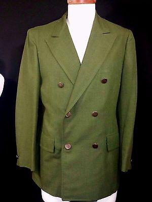 Mens 60s Vintage Mod Double Breasted Blazer Sportcoat Jacket Size 40 Small Green