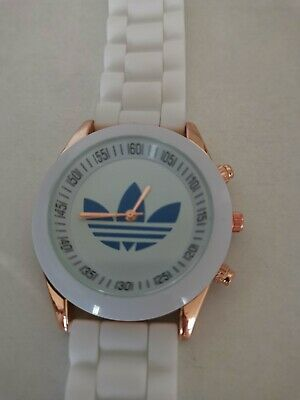 New Adidas Watch Silicone Sports women's white with blue center