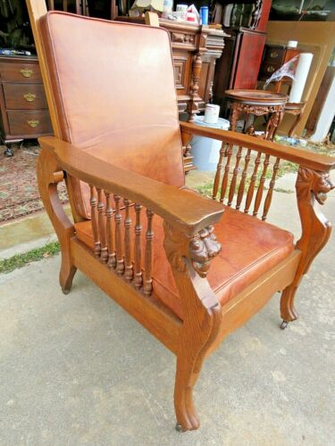 Outstanding Early 1900s Carved Oak Figural Morris Arm Chair