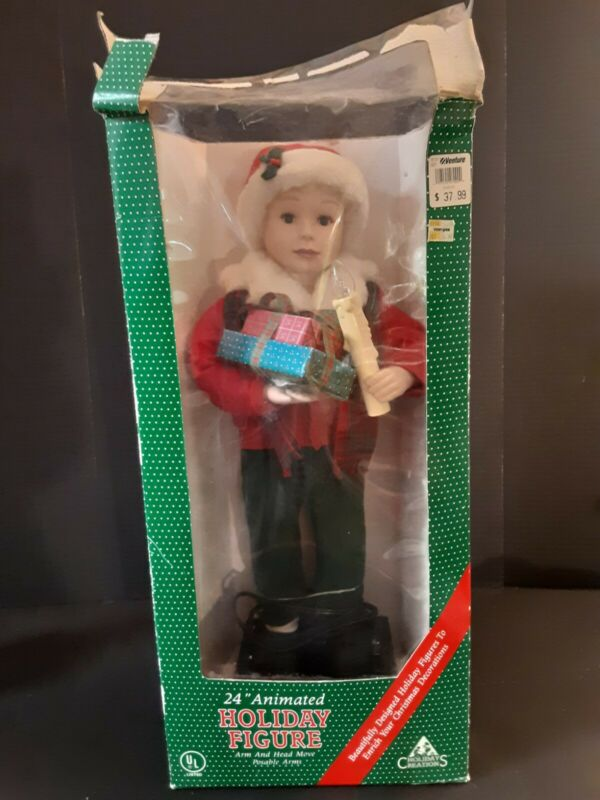 "Holiday Creations 24"" Little Christmas Boy Animated Lighted 1993"