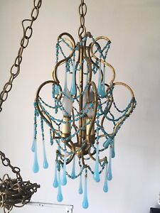 Delivery-beautiful antique French blue opaline chandelier