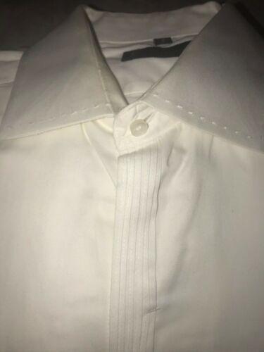 Ben Sherman White Tuxedo Dress Shirt Pleated French Cuff Mens Size 2 Medium