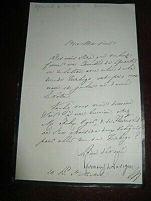 GERMOND DE LAVIGNE Autographe Signé 1860 TRADUCTEUR ESPAGNE ACADEMIE à PAGNERRE