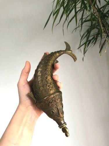 "Antique MUGHAL Powder Flask ARTICULATED Brass FISH Spice Jar 12"" ASIAN"