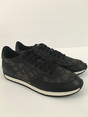 Coach Farah Fashion Sneakers Nappa Signature Canvas Upper Black-Smoke/Coal 7 M