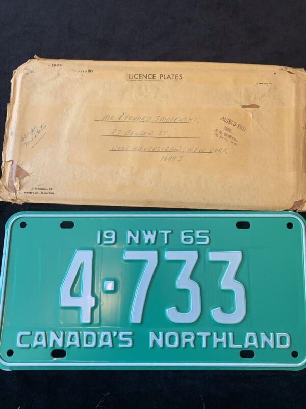 1965 NORTHWEST TERRITORY LICENSE PLATE, NWT, CANADA