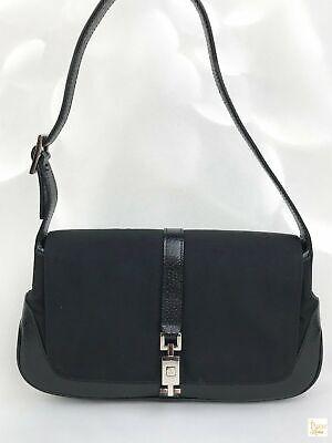 $980 GUCCI Black Nylon Leather Flap Push-Lock Jackie O Shoulder Bag SALE! Small