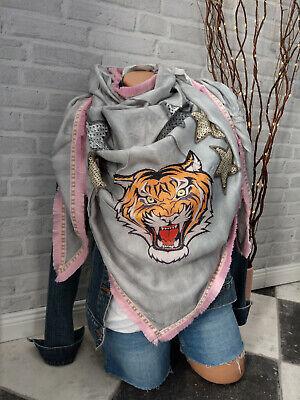 Zwillingsherz ❤ 3ecks Tuch Schal Tiger 100% Modal Grau Rosa Fransen Festival NEU - Fransen Herz