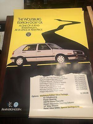 Vintage VW Volkswagen Showroom Advertising Poster Golf GL Wolfsburg