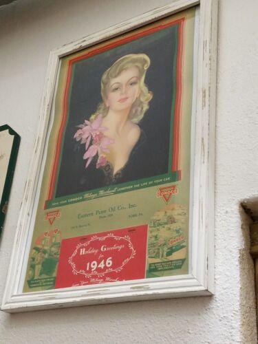 Vintage Conoco Calendar from 1946 - Framed