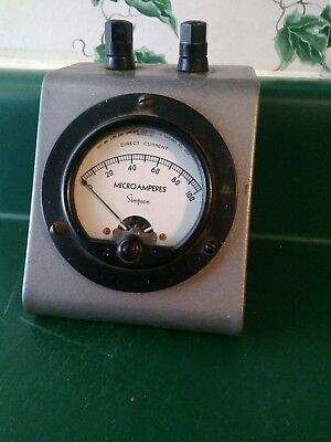 Simpson Model 25 Dc Microamperes Meter With Case