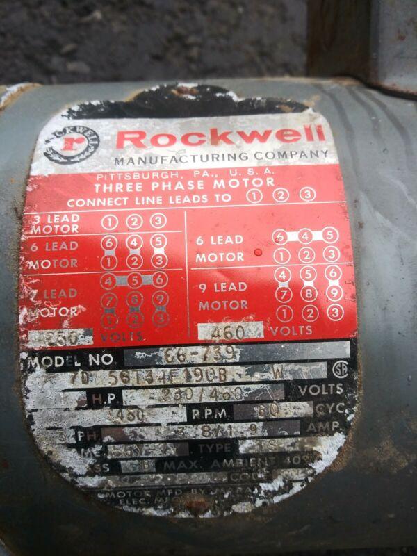 DELTA ROCKWELL BALDOR MOTOR 1HP 3 PHASE 230/460V;  3450 RPM