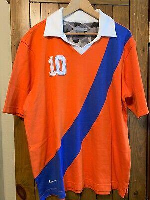 Nike Soccer Goalie Rugby Jersey Vintage Style SS Shirt Orange w/Blue Stripe XL Orange Striped Soccer Jersey