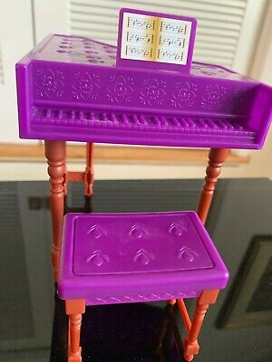 Barbie furniture plastic piano and bench