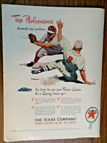1948 Texaco Texas Oil Gas Ad  Top Performance  Baseball Theme