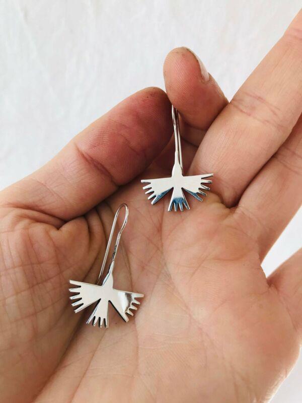 Taxco Silver Earrings. Nazca Hummingbirds.
