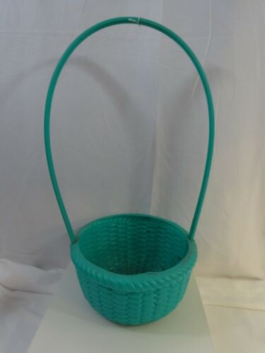 """Vintage 60s PLASTIC Impressed woven EASTER BASKET Tall Handle Green 21"""" tall"""