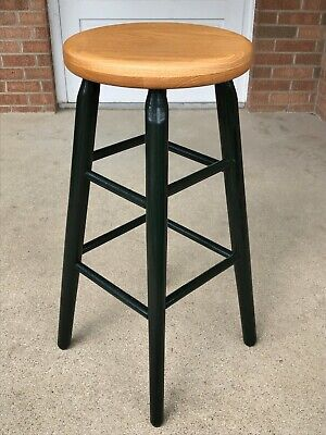 Country Wood Finish Bar Stool (Vintage Solid Oak Wood Bar Stool with Natural Finish Seat Green Painted Legs)