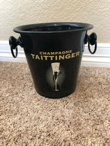 Taittinger French Champagne Black Metal Ice Bucket
