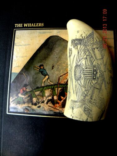 """Scrimshaw Sperm whale tooth resin REPRODUCTION """"UNION FLAGS """"6 inch"""