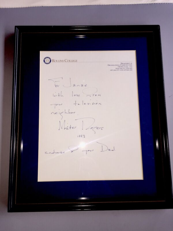 *SIGNED* Rare MISTER ROGERS Handwritten Personal Autographed Letter Framed Fred