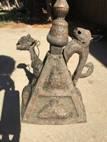 VERY RARE ANCIENT TIBETAN BRONZE DRAGON SAMOVAR (PROBABLY 14TH CENTURY)