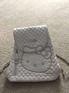 Hello kitty white quilted backpack/purse