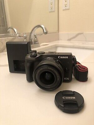 Canon EOS M6 24.2MP Digital Camera - Black w/ EF-M 15-45mm Lens Excellent +++!!!