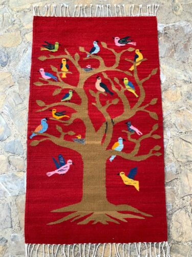 """Hand Woven Zapotec 23x40"""" Red Birdies Tree of Life Pattern Weaving Tapestry Rug"""