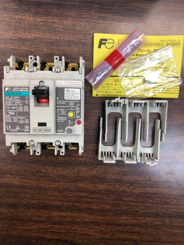 Fuji Electric EW50RAGU 3P 15A  Earth Leakage Circuit Breaker New In Box
