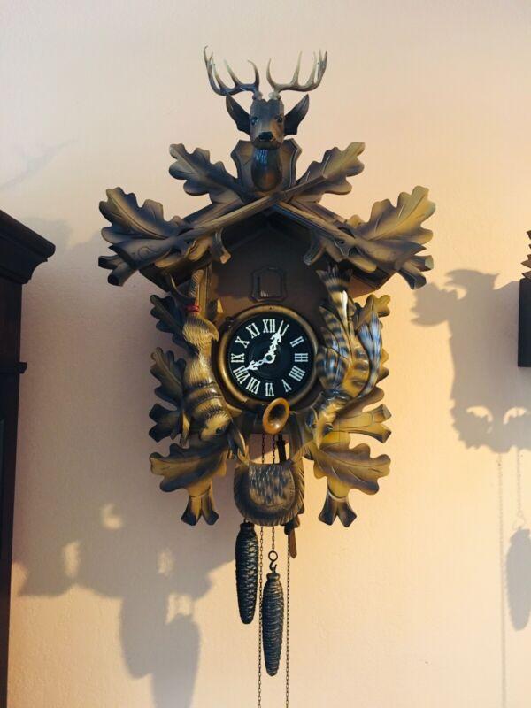 Large Cuckoo Clock-Beautiful Original 100%  deer, rabbit and pheasant - Restored