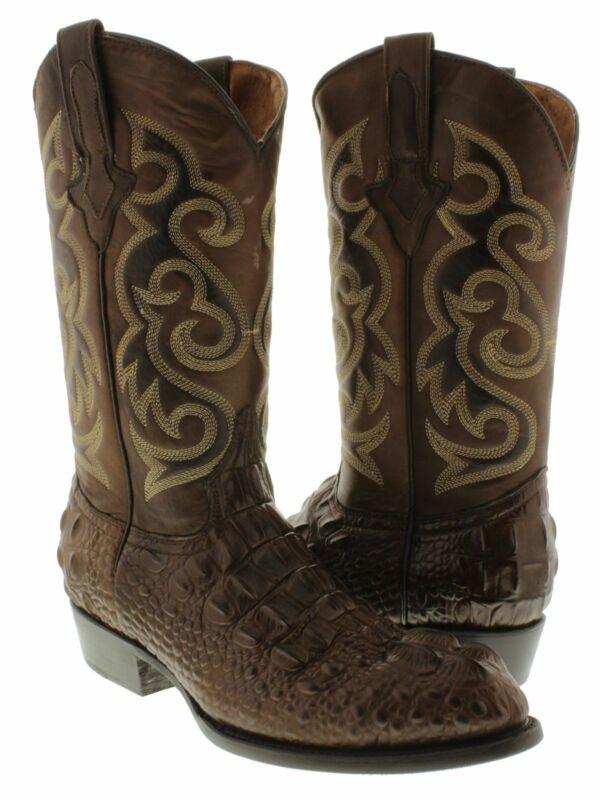 Mens, Brown, Crocodile, Alligator, Head, Cut, Country, Dress, Cowboy, Boots, Round, Toe